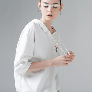 Women Cotton Letters Embroidery Half Sleeve T-Shirts Casual Tops