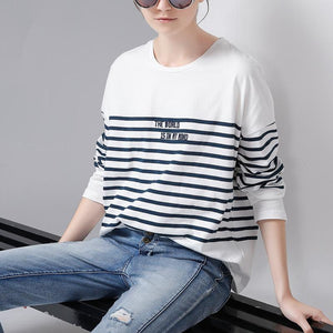 Women Stripe Embroidery T-Shirt Casual Batwing Sleeve O-Neck Top