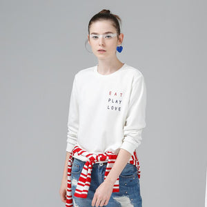 Women Printed Loose Long Sleeve  O-Neck Pullovers Sweatshirt