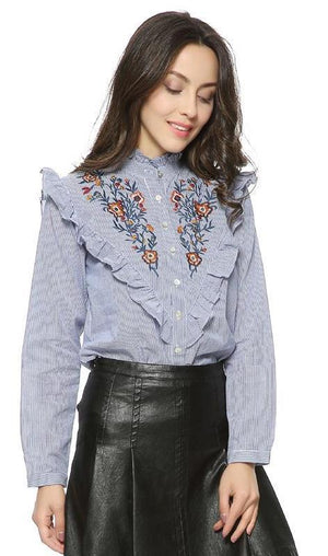 Women vintage floral embroidery cotton ruffled striped Blouse