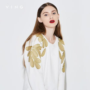 Women Floral Embroidery O-Neck Pullover Sweatshirt