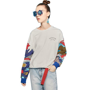 Women Loose Colorful Printing Casual Pullovers Sweatshirt