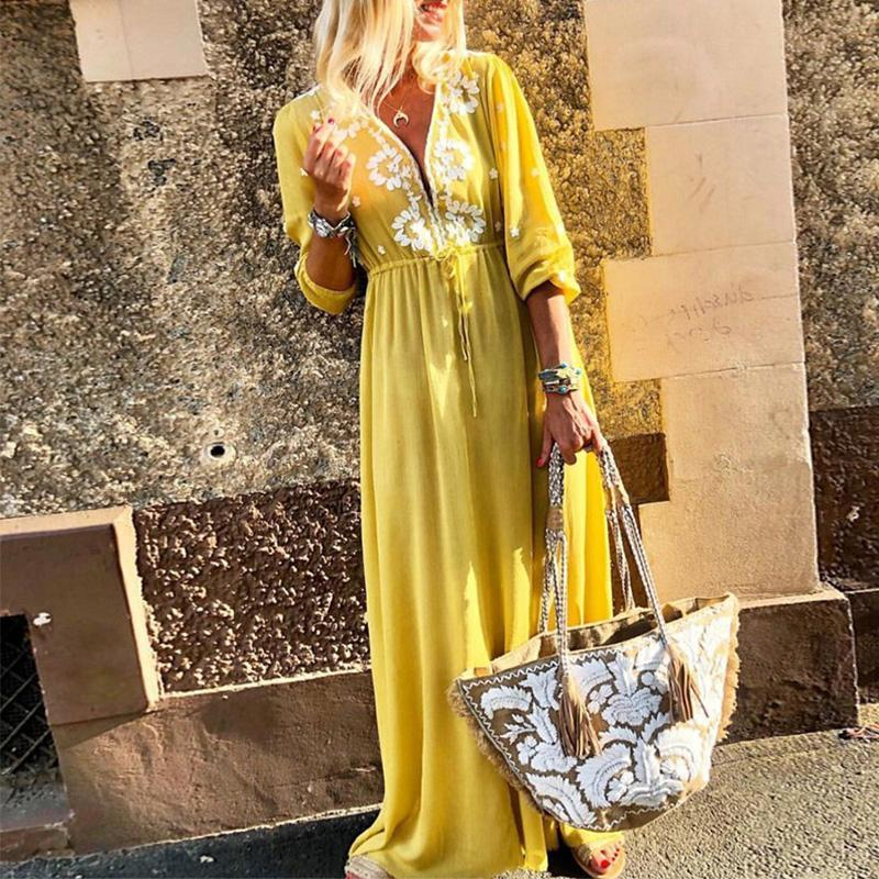 Yellow Floral Deep V Neck Lace Up Maxi Dress