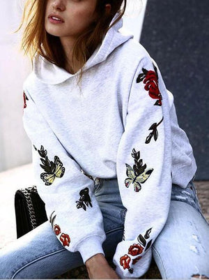 Printed  Long Sleeve Hooded Tops