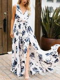 Bohemia Ink Printing Sleeveless Maxi Dress
