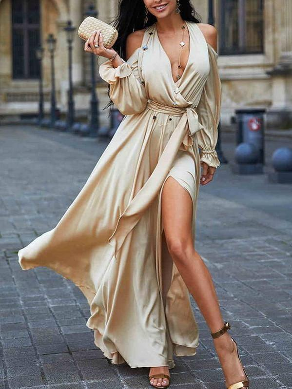 Fashion V Neck Long Sleeve Maxi Long Dress