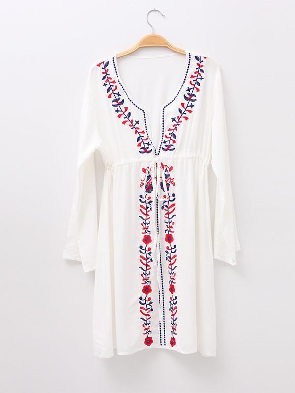 Women Sexy Cotton Blend Embroidery V-neck Beach Dress