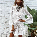 Fashion Ruffled Pure Colour Lace Inwrought Cover Ups