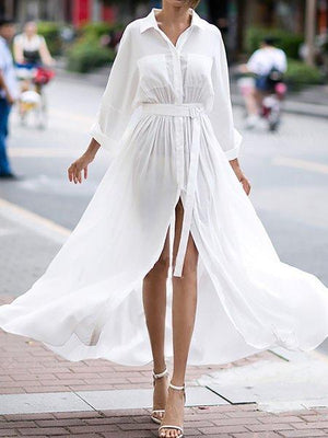 Shirt Collar White Dress Shift Basic Dress