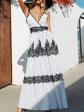Fashion Deep V Polka Dot Sling Maxi Dresses