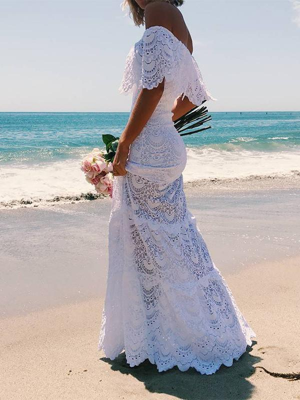 Sexy Boat Neck Off-Shoulder Lace Beach Maxi Dresses