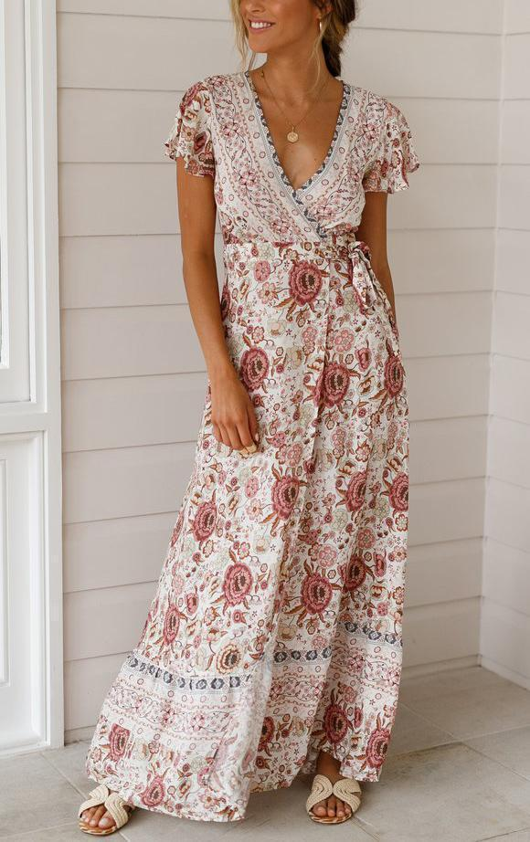 Bohemian V-neck Floral Printed Beach Maxi Dresses-Pink