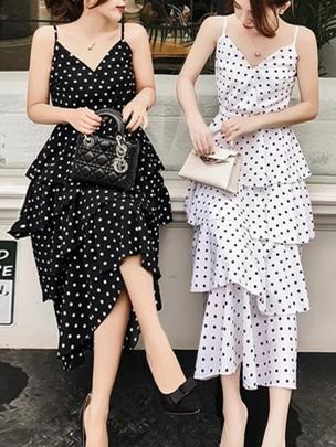 Spaghetti Strap Sleeveless Polka Dot Cake Maxi Dress