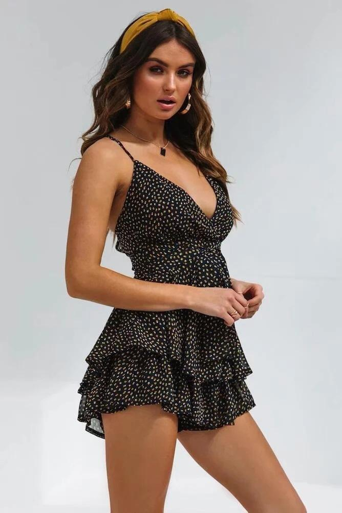 Black Chiffon Polka Point Rompers