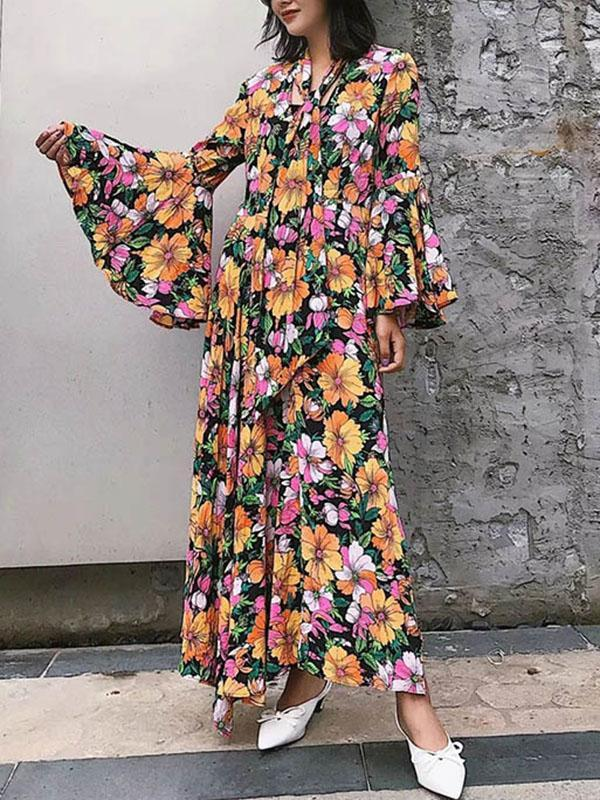 Flared Sleeves Floral Maxi Dress