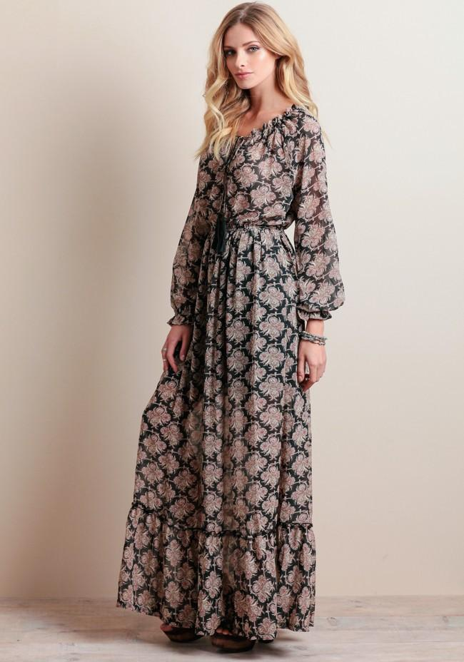 Chiffon Print Long Sleeve Waist Bandage Bohemian Long Dress