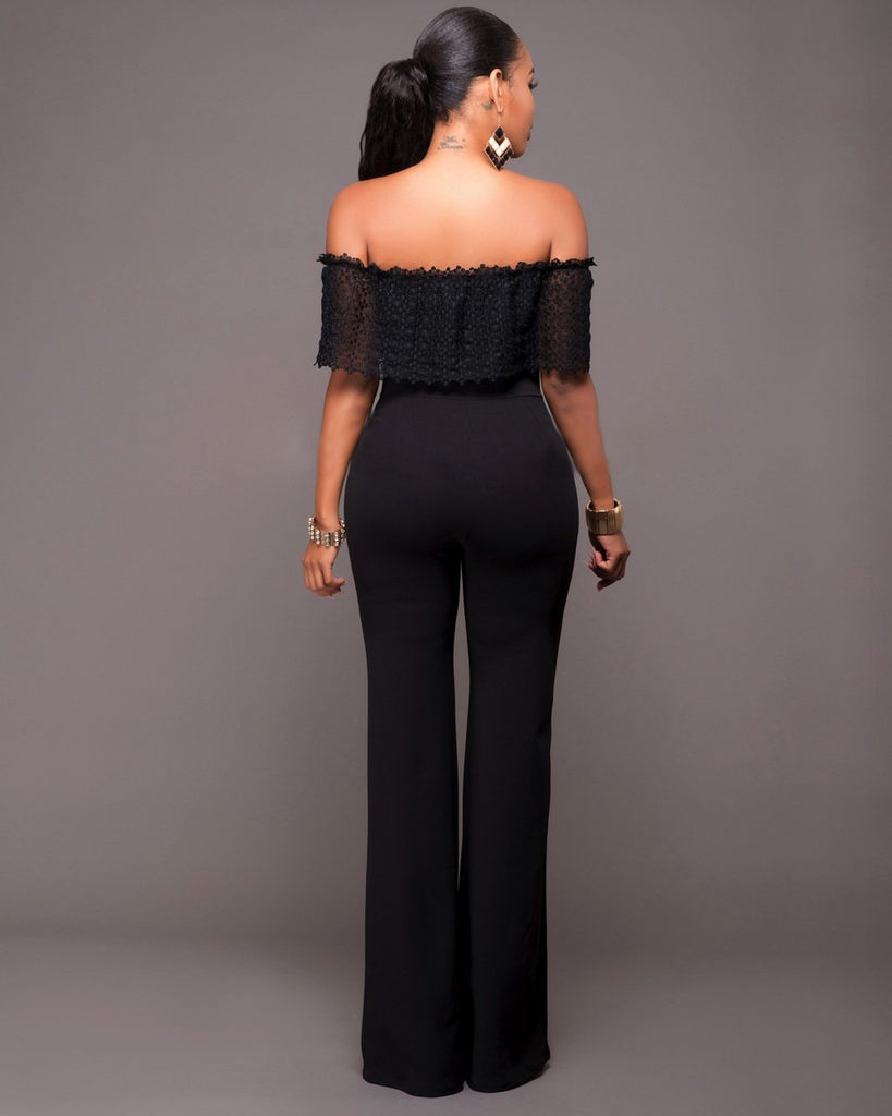 Long Jumpsuit Off The Shoulder Wide Leg Jumpsuit