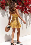 Yellow floral knotted Strap Dresses
