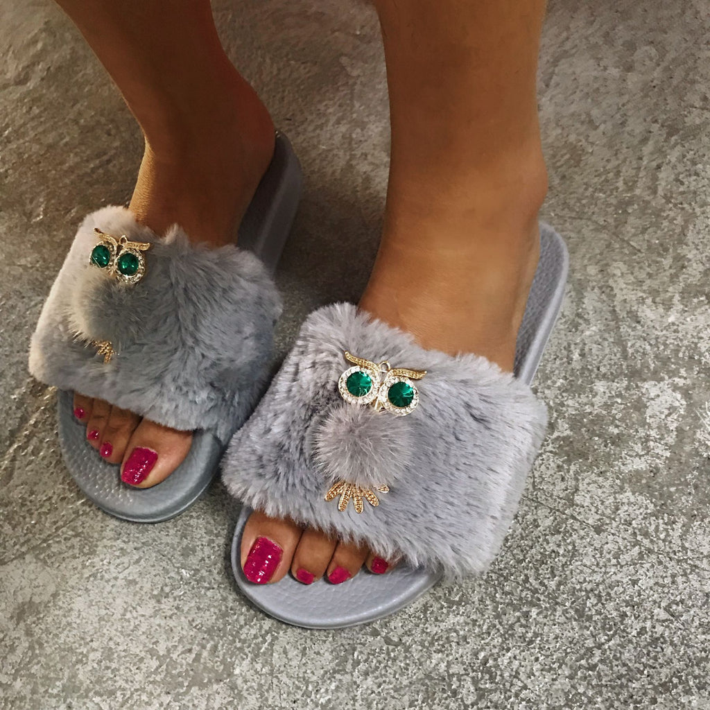 Plush Owl Hair Slippers-3color