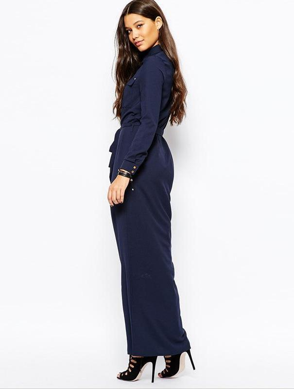 Women Striped Neck Deep V Long Sleeve Maxi Dress