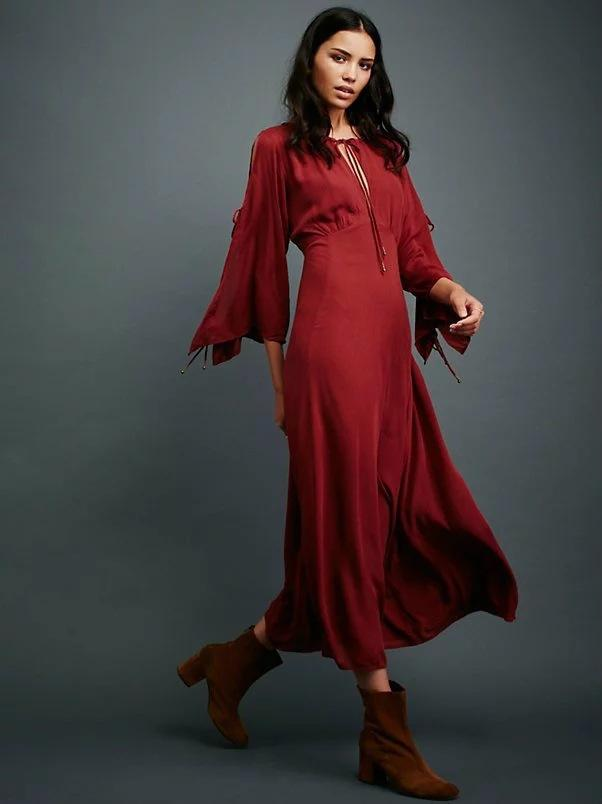 Sexy Wine Red Loose V-Neck Maxi Dress