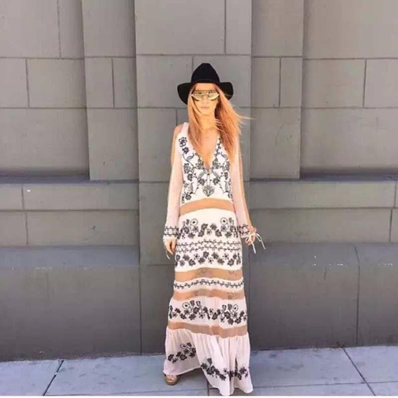 Flower Long Sleeve V Neck Maxi Dress