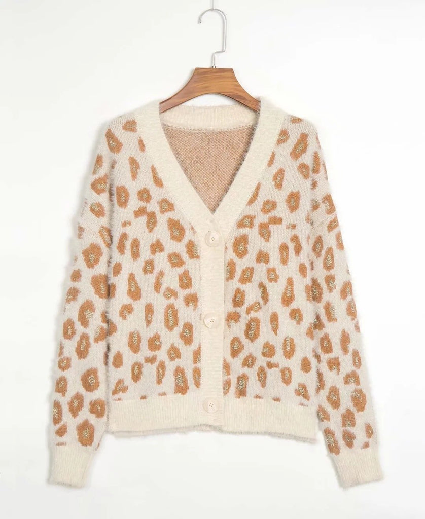 V-neck Single-breasted Leopard Knit Cardigan