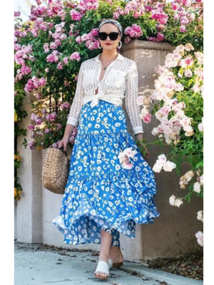 Vacation Floral Blue Boho Maxi Skirt