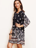 Women Printed ONeck Casual Party Long Sleeve Vintage Dress