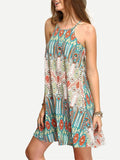 Women Bohemian Loose Spaghetti Strap Print Sexy Mini Dress