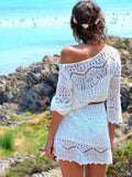 White Knitted Long Sleeve Lace Women Beach Cover Up