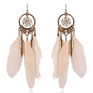 Feather round mesh leaf pendant female earrings