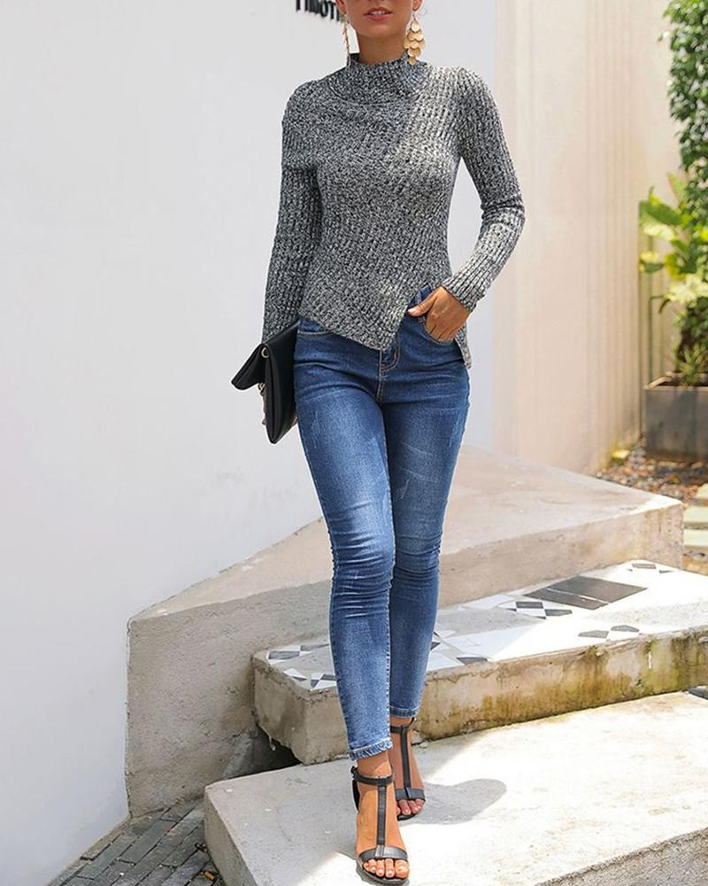 Solid Long Sleeve Casual Grey Sweater