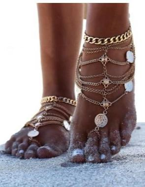 Punk vintage beach metal coin anklet with multi-layer fringed chain anklet