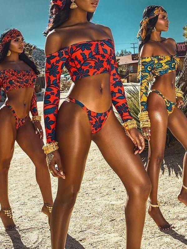 Bohemian Long Sleeve Print Bikini Set