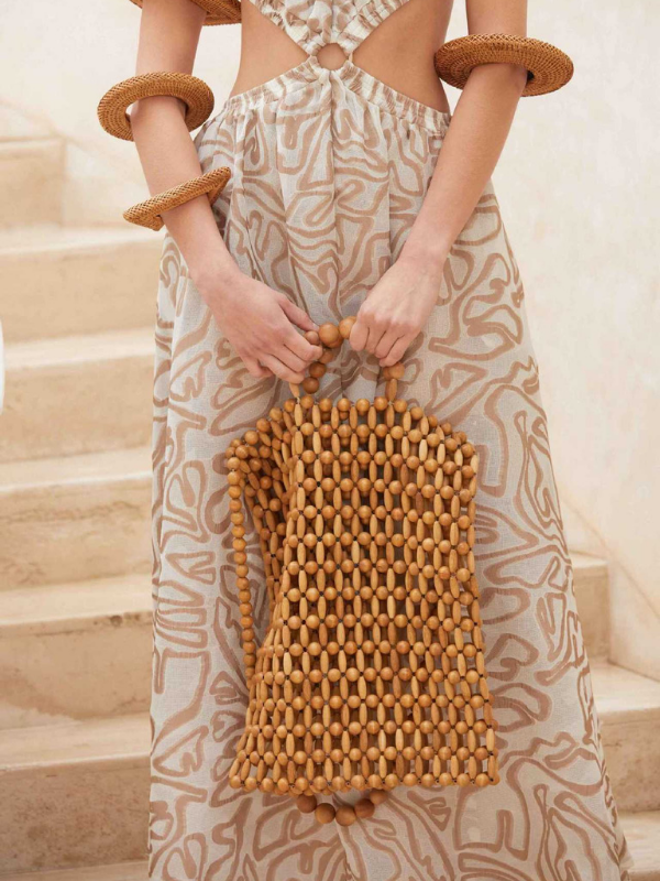 Natural Wooden Beads Hand-woven Handbag