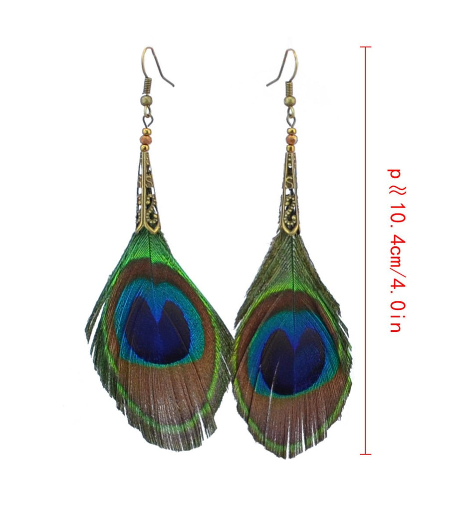 Bohemian Vintage Peacock Feather Earrings