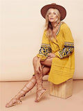 Women Boho Embroidery Bohemia Oversize Long sleeve Dress