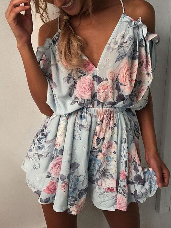 Sexy V Neck Floral Print Jumpsuits
