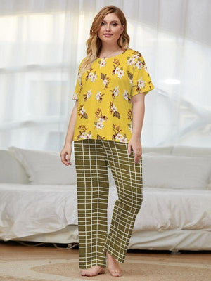 Printed cotton short sleeve pyjama set XL-4XL