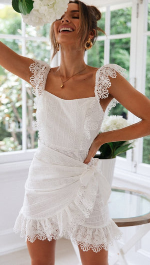 White Cotton Sleeveless Lace Boho Mini Dress