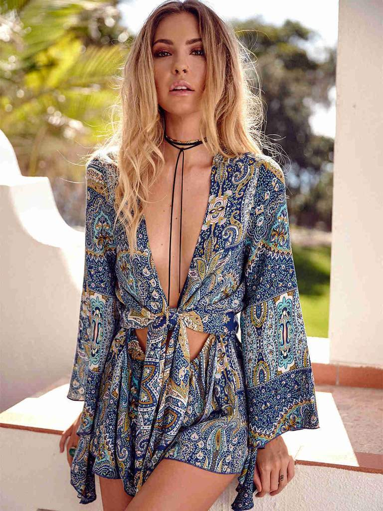 Women Romper Sexy Short Sleeve V Neck Bohemian Bottom