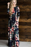 Floral Print Long Sleeve Elastic Waist Flower Print DRESS
