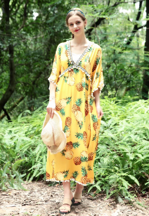 Bohemian Flared Sleeves Printed Loose Maxi Dress