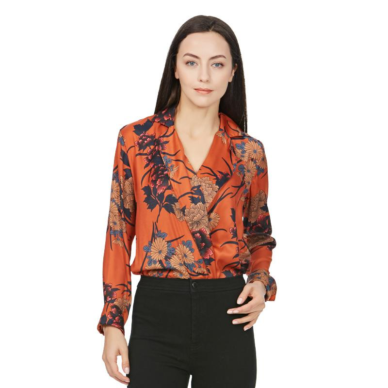 Women vintage floral long sleeve playsuit Blouse Casual Tops