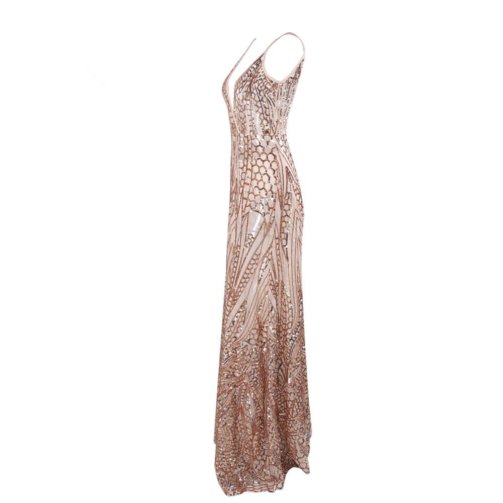Sexy V-neck split party sequin maxi Dress