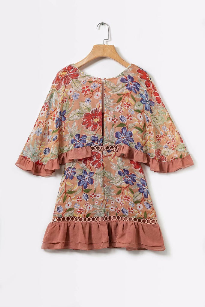 Vintage Lace Stitching Floral Dating Dress-Khaki