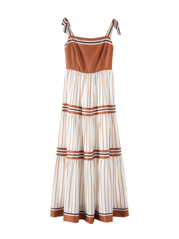 Sexy Backless Vacation Striped Sling Dress