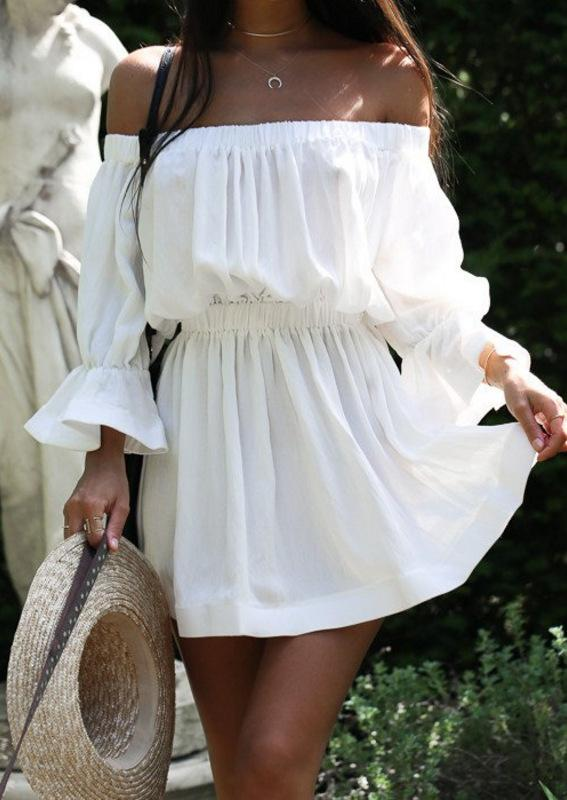 Sexy Off Shoulder Pure Color Beach Vacation Dress