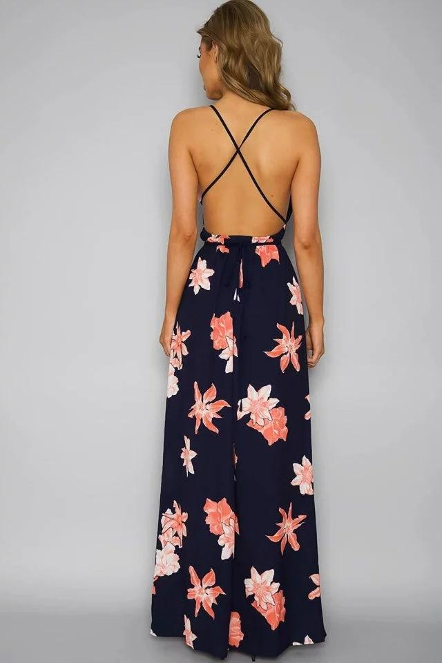 Sexy strapless printed strap Floral Maxi Long Dress